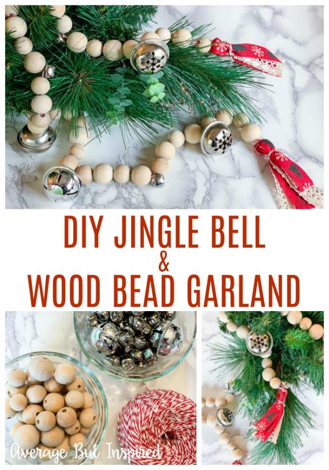 How To Make A Jingle Bell Wood Bead Garland For Christmas Average But Inspired Christmas Decorations Garland Wood Bead Garland Christmas Tree Garland