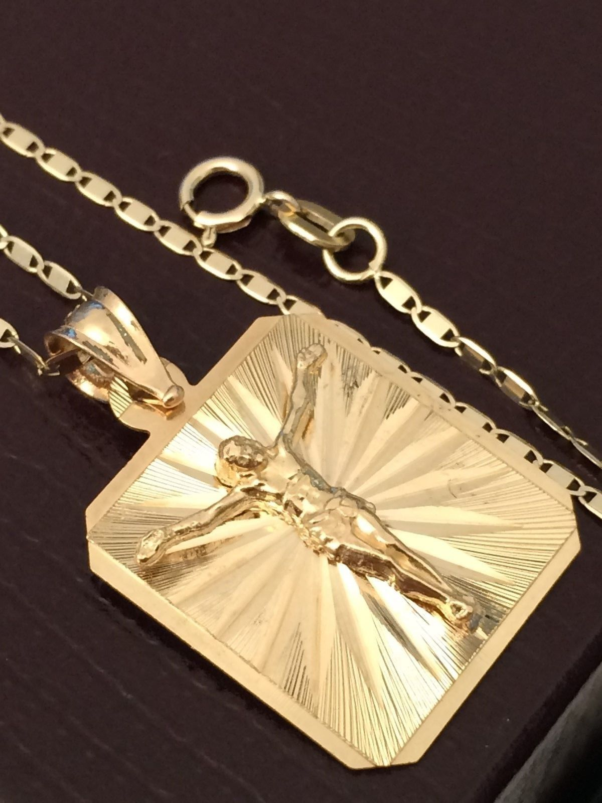 Yellow Rose K Gold Crucifix Jesus Pendant Charm with Gucci Chain