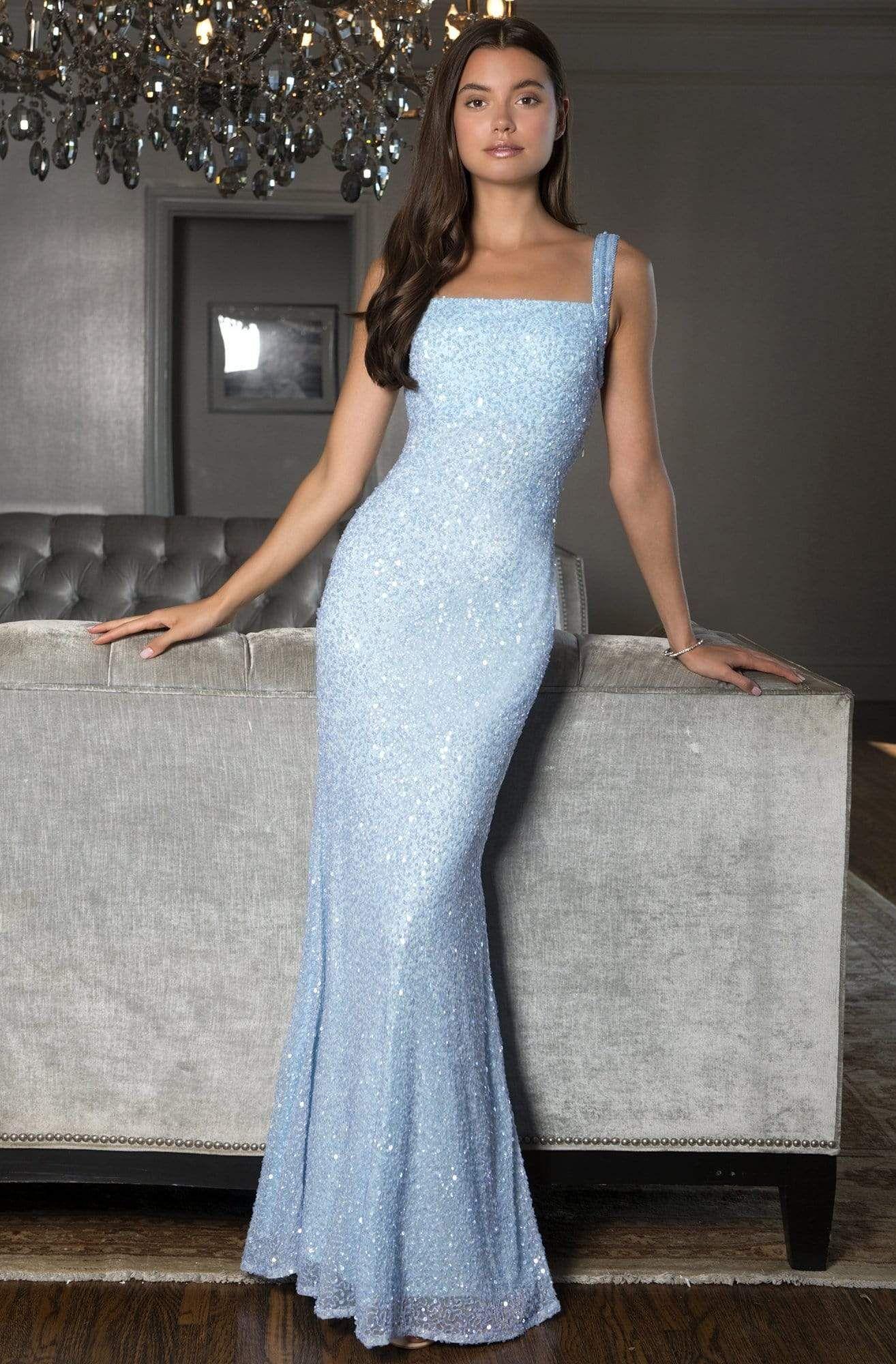 Scala 60095 Square Neck Sequin Long Sheath Dress In 2020 Dresses Square Neckline Dress Square Neck Dress [ 2000 x 1314 Pixel ]