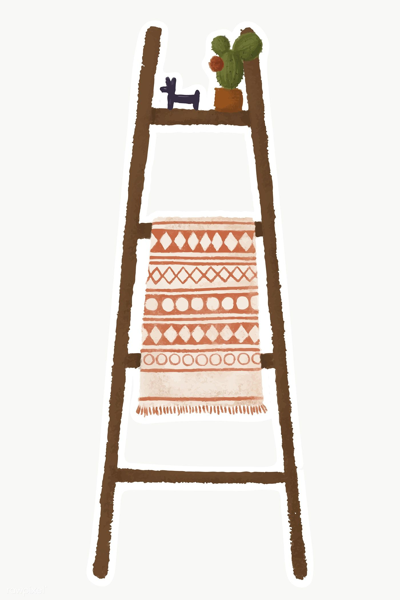 Download Premium Png Of Ladder Shelf With Blanket And Potted Cactus Ladder Plant Shelves Cactus Stickers