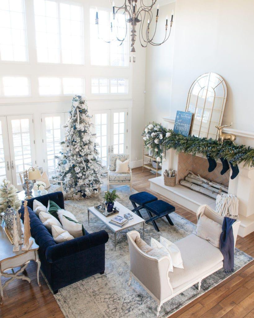 Christmas Home Tour Christmas Decorations Flocked christmas tree mantle decorations blue christmas decor #Christmas #Blue #White #ChristmasHome