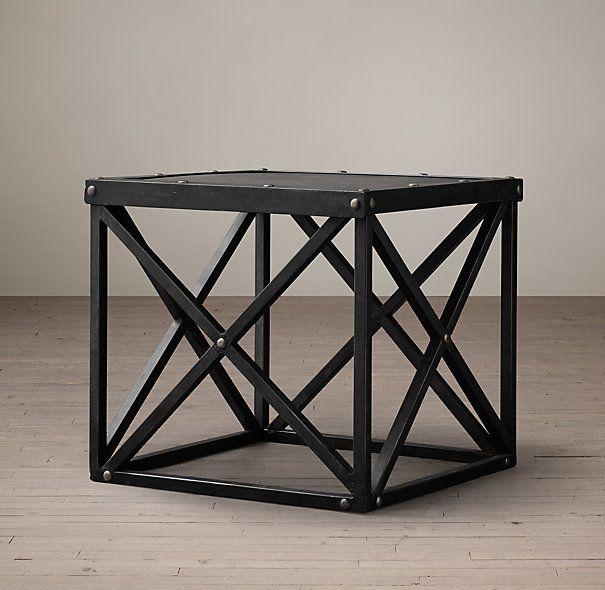 x brace iron side table rh home ideas table console table decor rh pinterest com