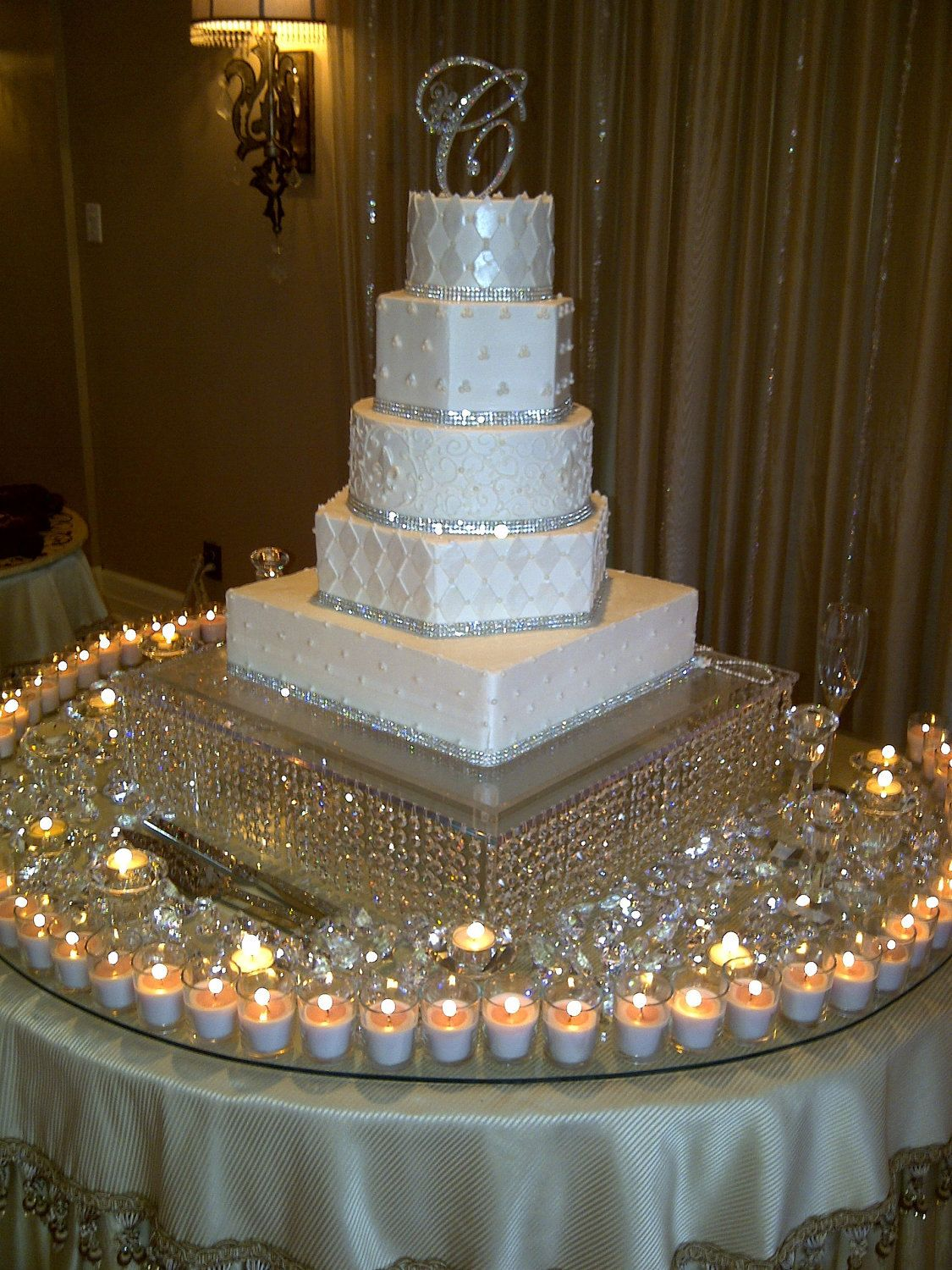 """Stunning cake, the site sells beautiful toppers but unfortunately there is no link to the cake creator  - 6"""" Crystal Monogram Cake Topper Letter C. via Etsy."""
