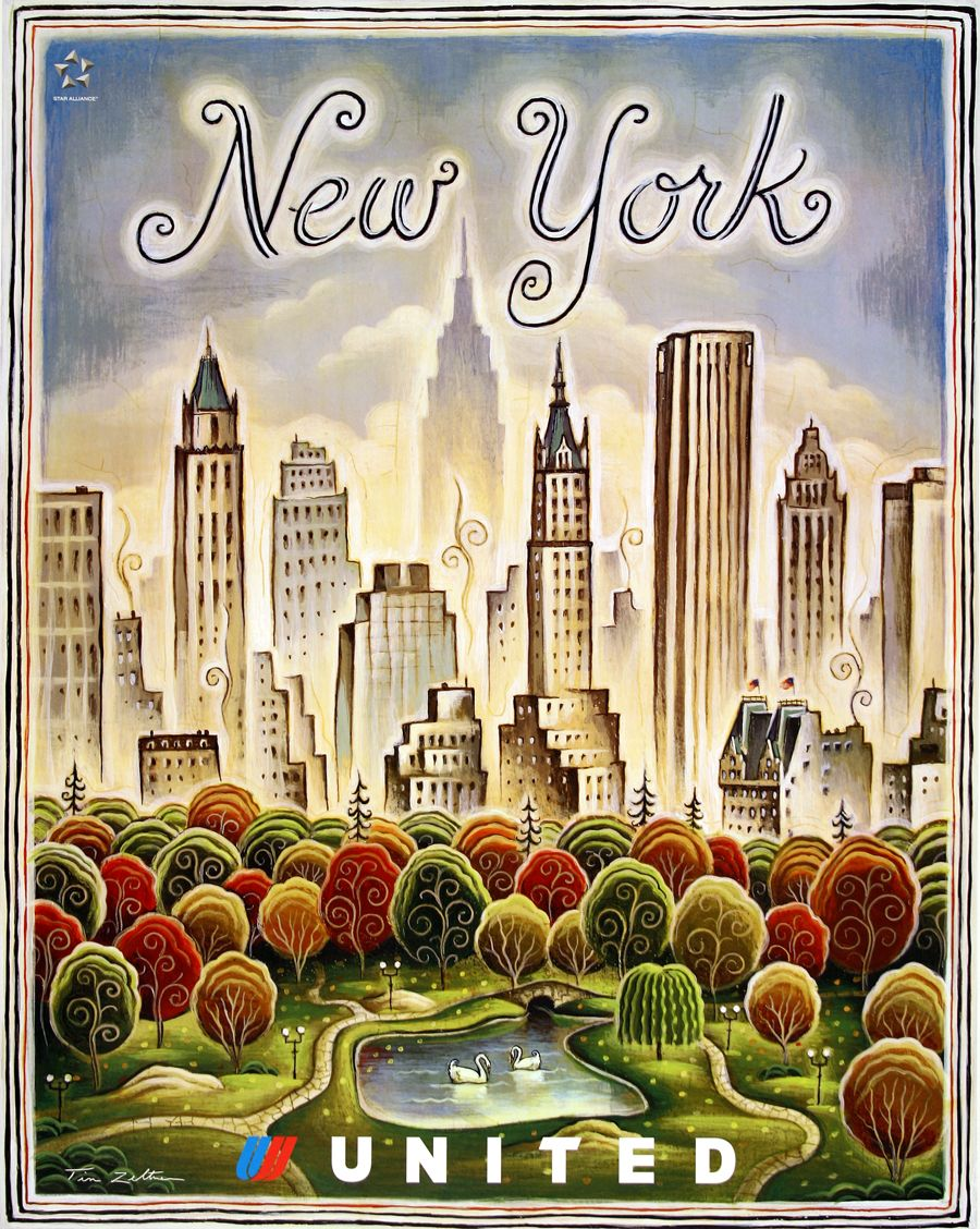 new york vintage poster united airlines life is a. Black Bedroom Furniture Sets. Home Design Ideas