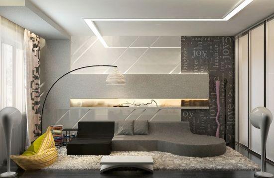 Wohnideen Wohnzimmer grau-gelb-modern einrichten @Home - farbideen wohnzimmer grau
