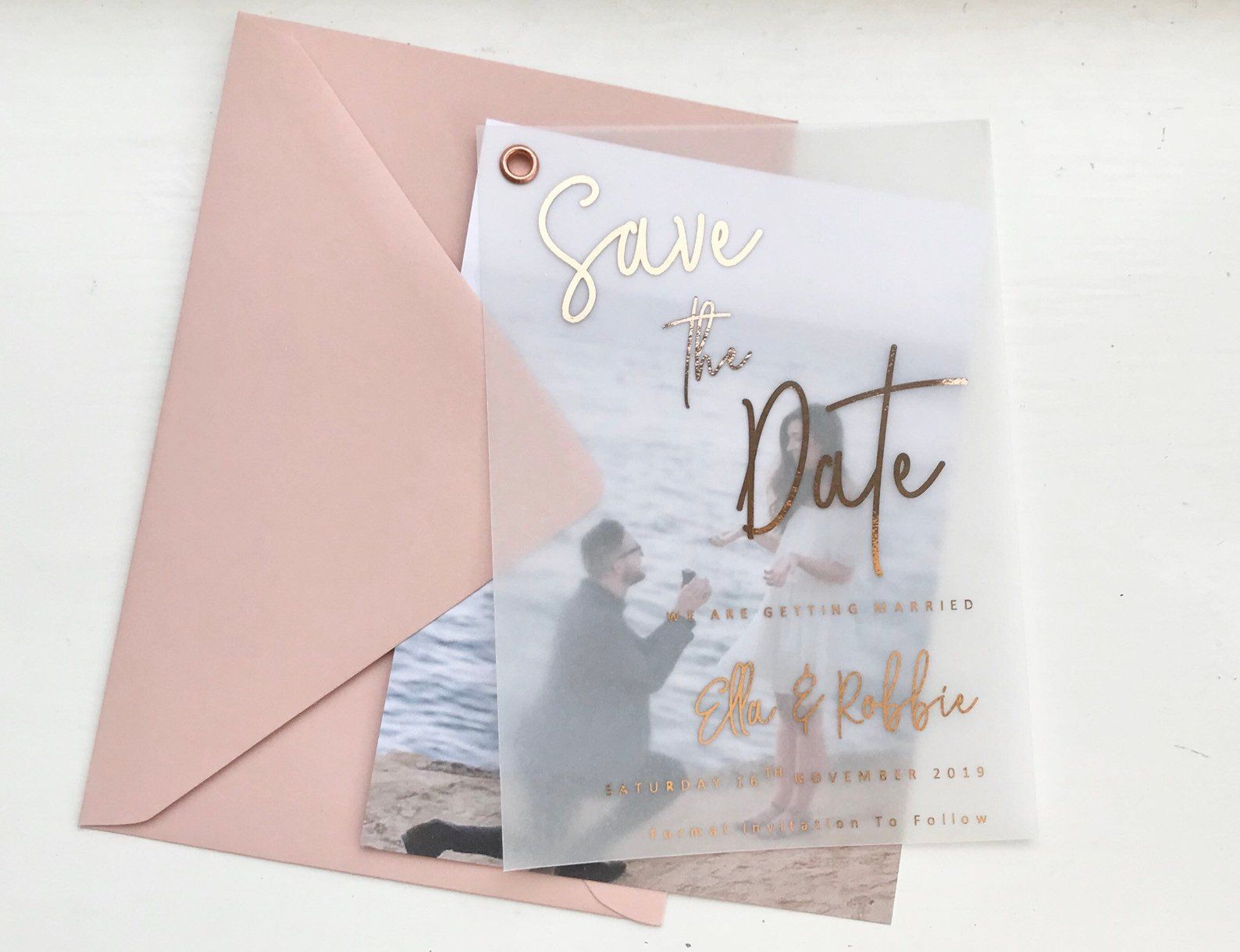 Wedding Stationery Various Foil Colours Available. White Card Personalised Foil Save The Date