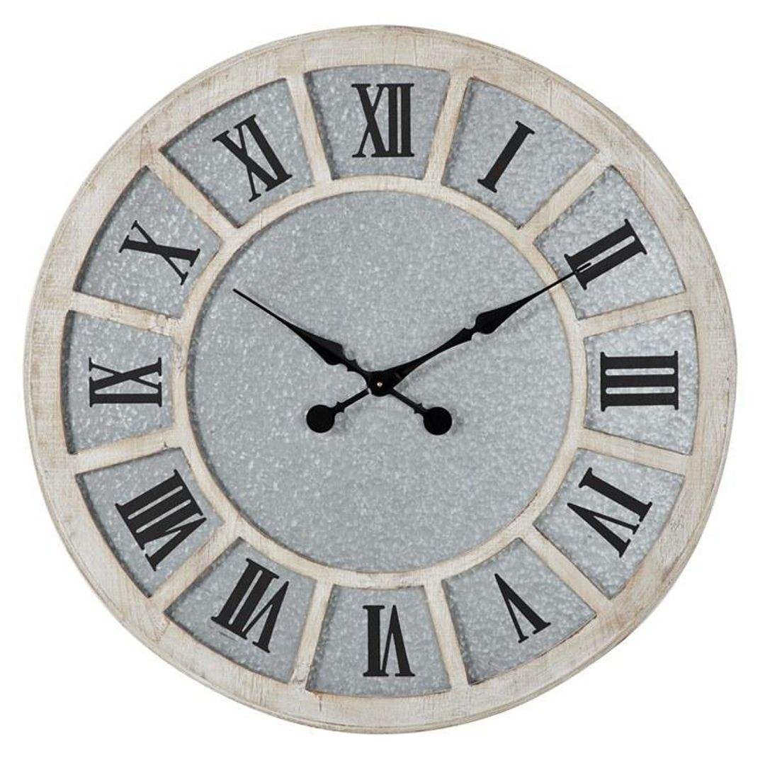Large Round Whitewashed Wood And Metal Wall Clock In 2020 Metal Wall Clock Clock Large Metal Wall Clock