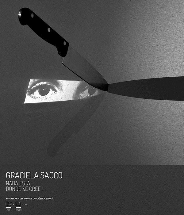 Graciela Sacco: Tensión admisible - Retratos, 2012-2014. Light installation, print on mirror, knife and light.