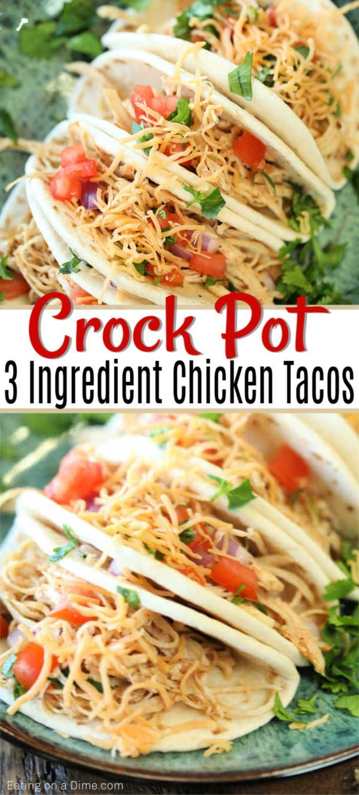 This is the best crock pot chicken tacos recipe!  It's very tasty and sure to make dinner super easy. Healthy Slow Cooker Chicken tacos with salsa has only 3 ingredients and will be one of your favorite recipes.