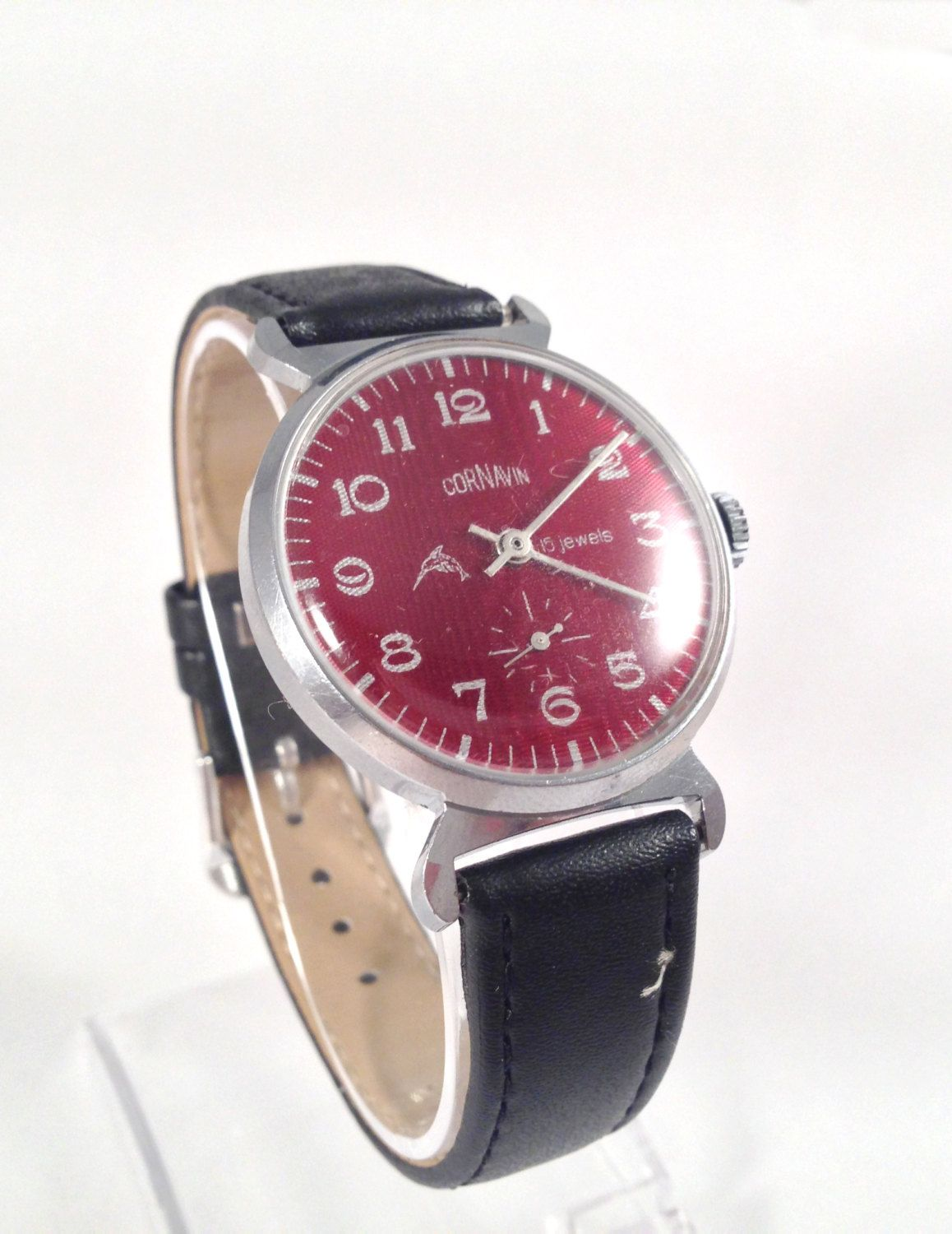 31667ca22c2 Old Soviet Watch, Cornavin 15 Jewels, 1980s Vintage Mens Watch, Mechanical  Hand Wind Watch, Red Dial Leather Strap, FREE STANDARD SHIPPING! by ...