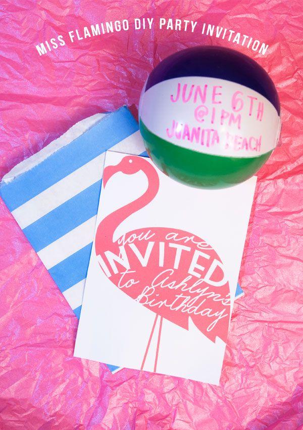 Confetti Sunshine: Miss Flamingo : DIY party invitation & free ...
