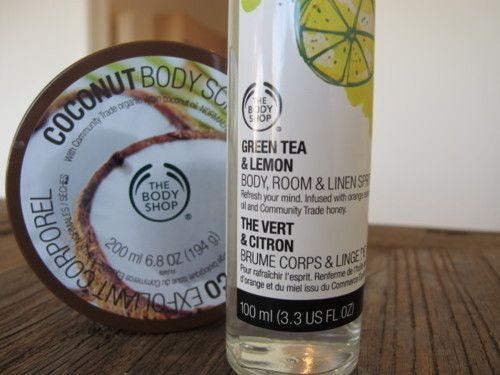 the body shop coconut scrub green tea and lemon spray rh pinterest com