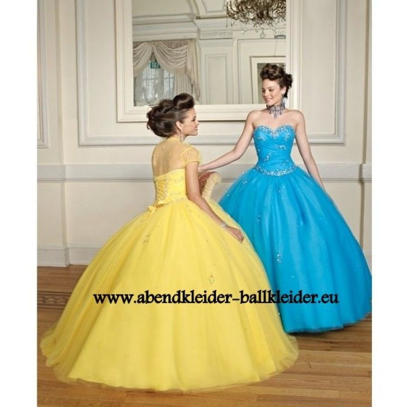 A Linie Abend - Ballkleid Brautkleid in Blau oder Gelb ...