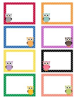 polka dot owl labels blank owl labels and owl. Black Bedroom Furniture Sets. Home Design Ideas