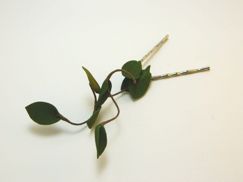 Hair Twigs Bobby Pins - Woodland Hair Accessory - Bride - Bridesmaid - Flower Girl - One Set. $14.00, via Etsy.