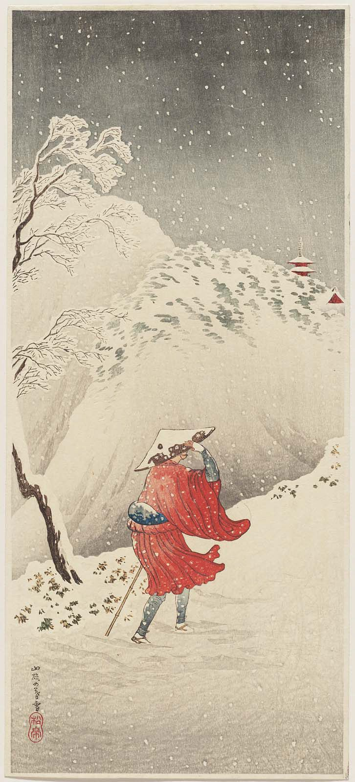 'Twilight Snow on the Mountain Road' (circa 1936) by Takahashi Hiroaki (Shôtei) (1871–1945). Publisher Watanabe Shôzaburô Image and text courtesy MFA Boston.