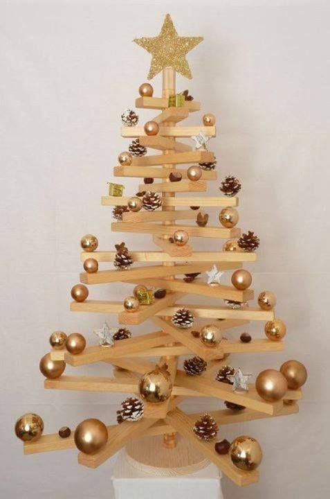 Pino navidad de madera y bolas navidad pinterest navidad arbol de navidad original y - Arboles de navidad de madera ...