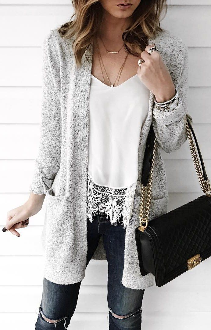 winter  fashion   Grey Cardigan   White Lace Top   Ripped Skinny Jeans f62e4aae6