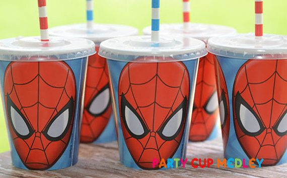Spiderman Party CupsSpiderman Birthday PartySet by PartyCupMedley, $10.40