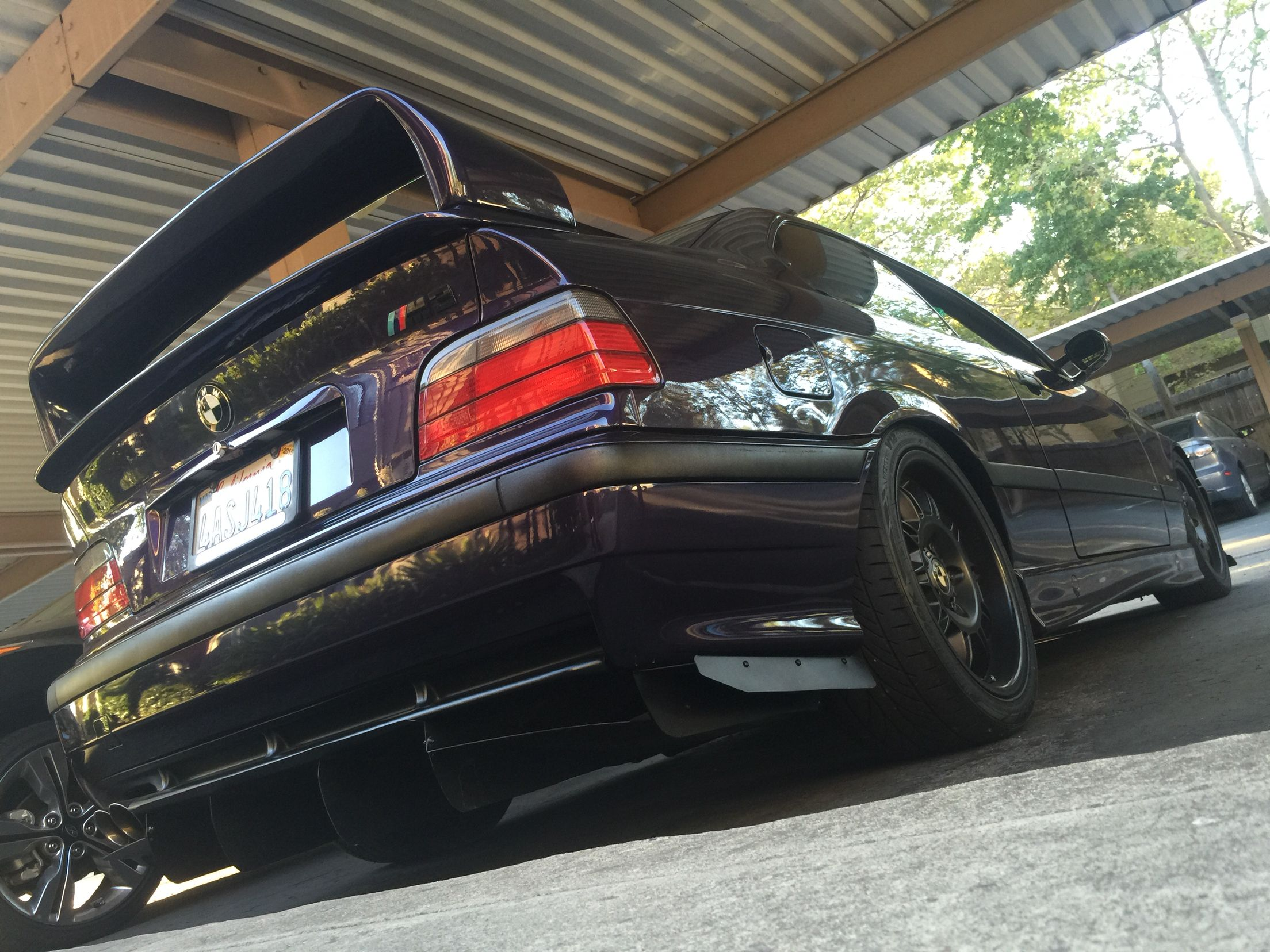 Diffuser and spoiler installed 1998 bmw m3 techno violet coupe purple stance low slammed racecar ltw