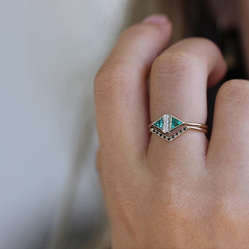 Emerald Art Deco Ring , Emerald Engagement Ring