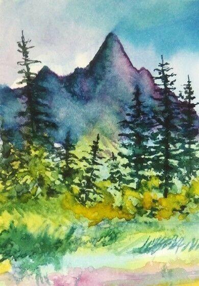 Aceo Original Autumn Mountains Fall Tree Painting Landscape Watercolour Art Card Miniature Paisajes Acuarela Dibujos Pintura Acuarela