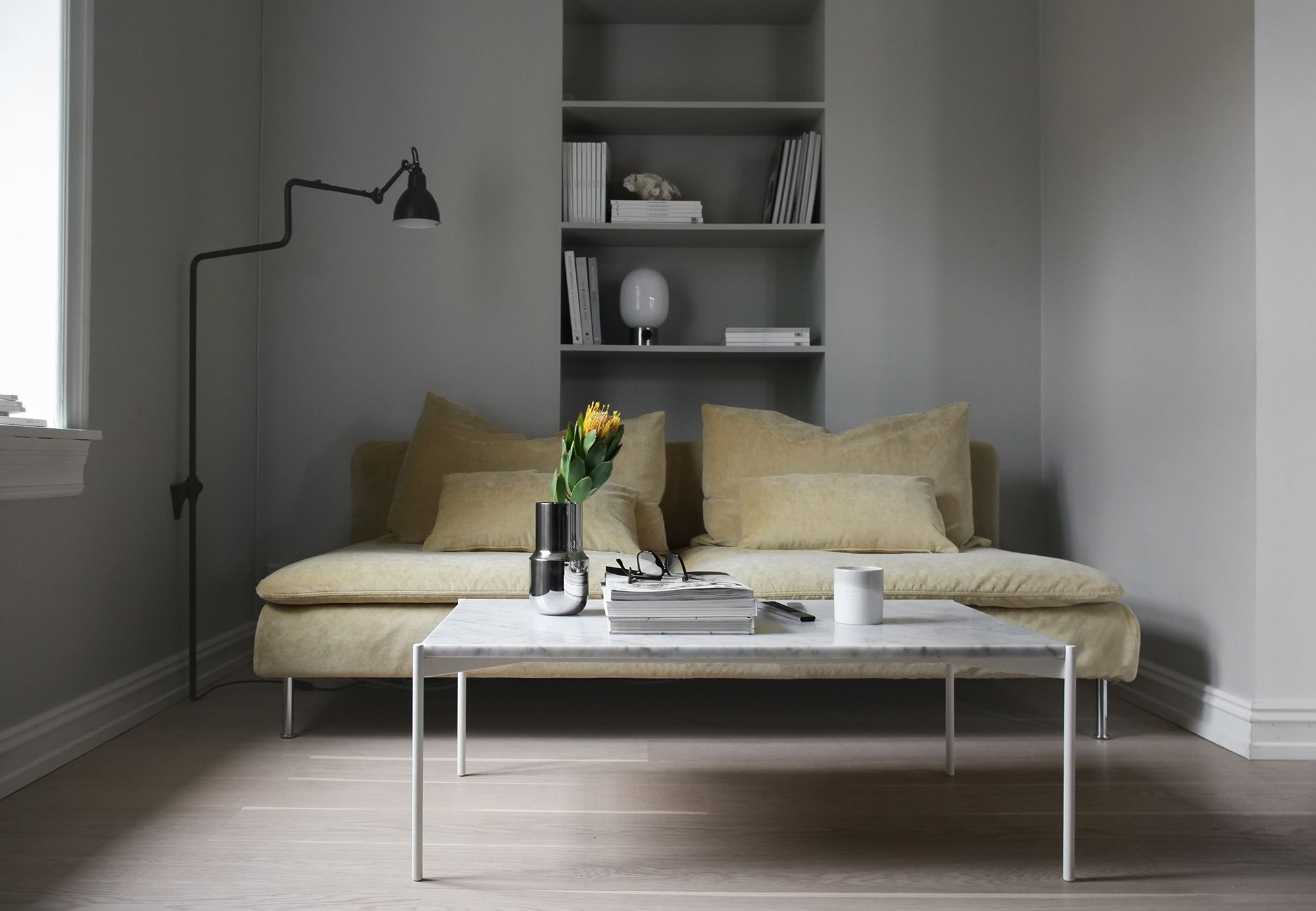Minimal Scandinavian Living Room With A Mustard Yellow Velvet Sofa Modern Minimalsim Gra Yellow Living Room Minimalist Living Room Living Room Scandinavian