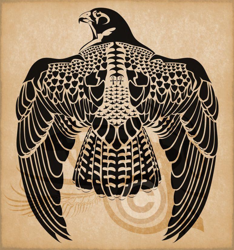egyptian horus peregrine falcon by amoebafire tattoos