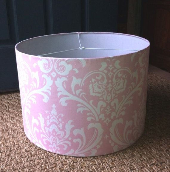 Drum Lamp Shade Pink Damask Lampshade 15x10 By Elladeandesign Room Nursery Baby