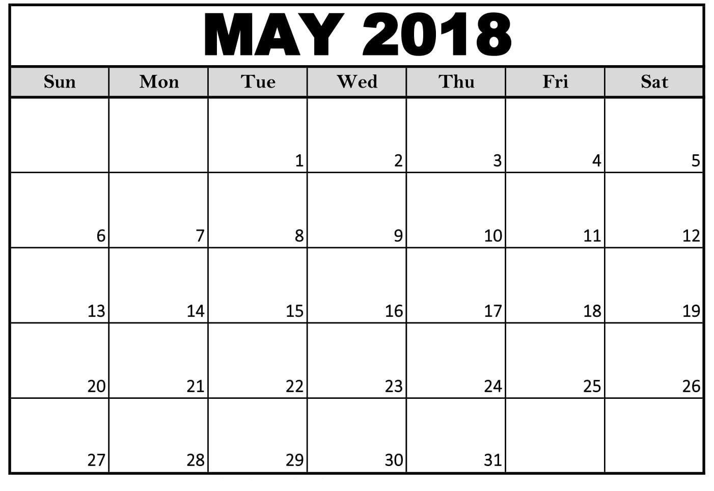 Free 5 May 2018 Calendar Printable Template Pdf May 2018 Calendar