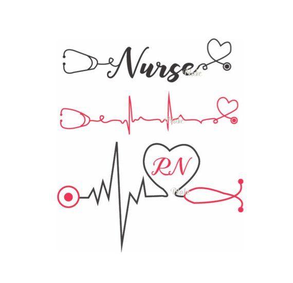 Nurse With Heartbeat And Stethoscope Svg Nurse Svg Heartbeat Svg