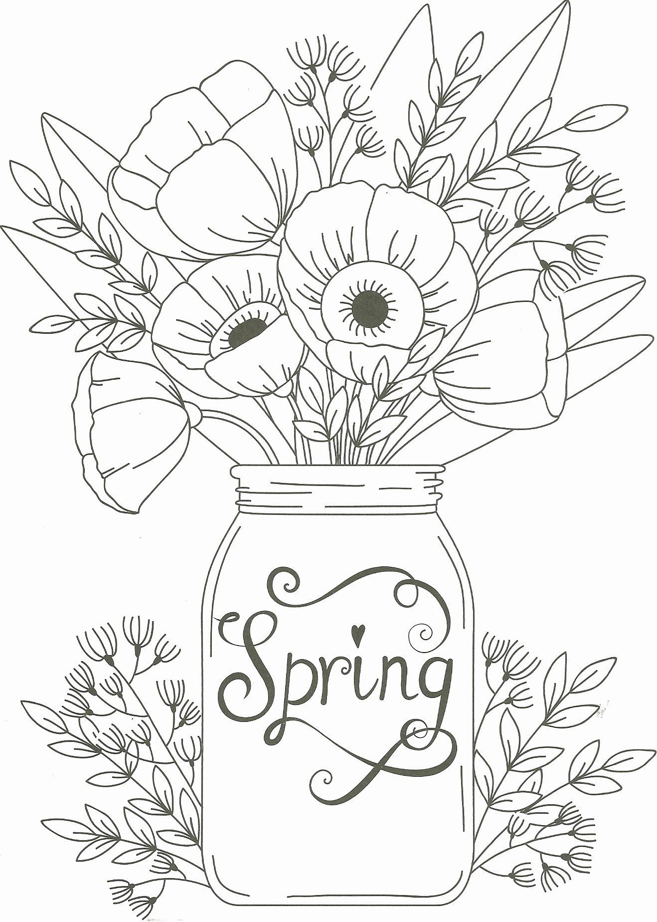 Spring Coloring Sheets For Adults Best Of Spring Mason Jar Floral Coloring Page Adults Colo Spring Coloring Sheets Spring Coloring Pages Easter Coloring Pages