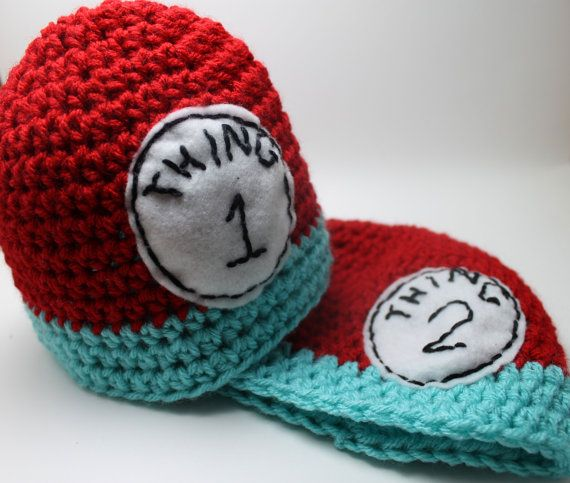 Dr Suess  Thing 1 and Thing 2 Hat Set ALL Sizes by KnittyMomma, $27.00