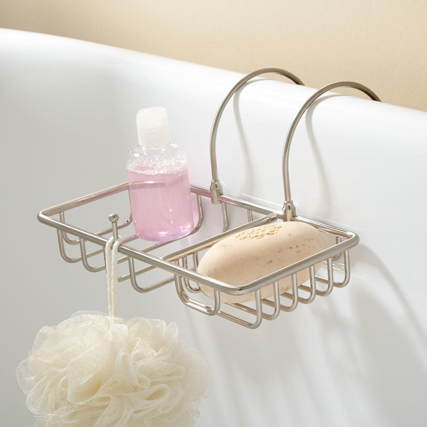 over the rim soap basket with sponge holder bathrooms clawfoot rh pinterest com