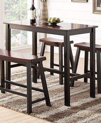 Espresso Wooden Rectangular Counter Height Dining Kitchen Table