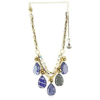 """Betsey Johnson """"In the Navy"""" Lucite Drop Frontal Statement Necklace"""