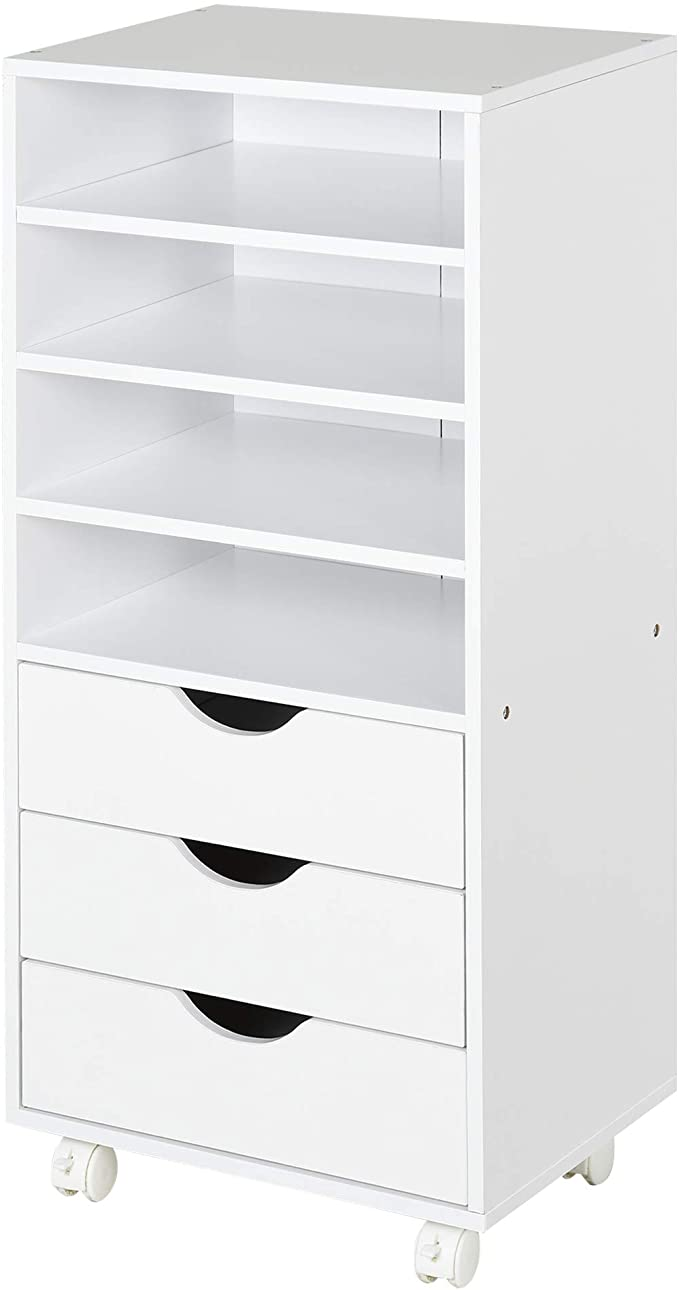 Vinsetto 3 Drawer Mobile File Cabinet Wood Filing Cabinet With 4 Caster Wheels 4 Open Shelves Mobile Filing Open Shelving Filing Cabinet Mobile File Cabinet