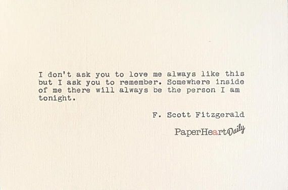 F Stock Quote F Scott Fitzgerald  Typed Quote  Typewriter Quote  Cardstock .