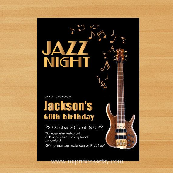 Jazz birthday invitation glam black elegant music jazz nigh 30th jazz birthday invitation glam black elegant music by miprincess stopboris Image collections