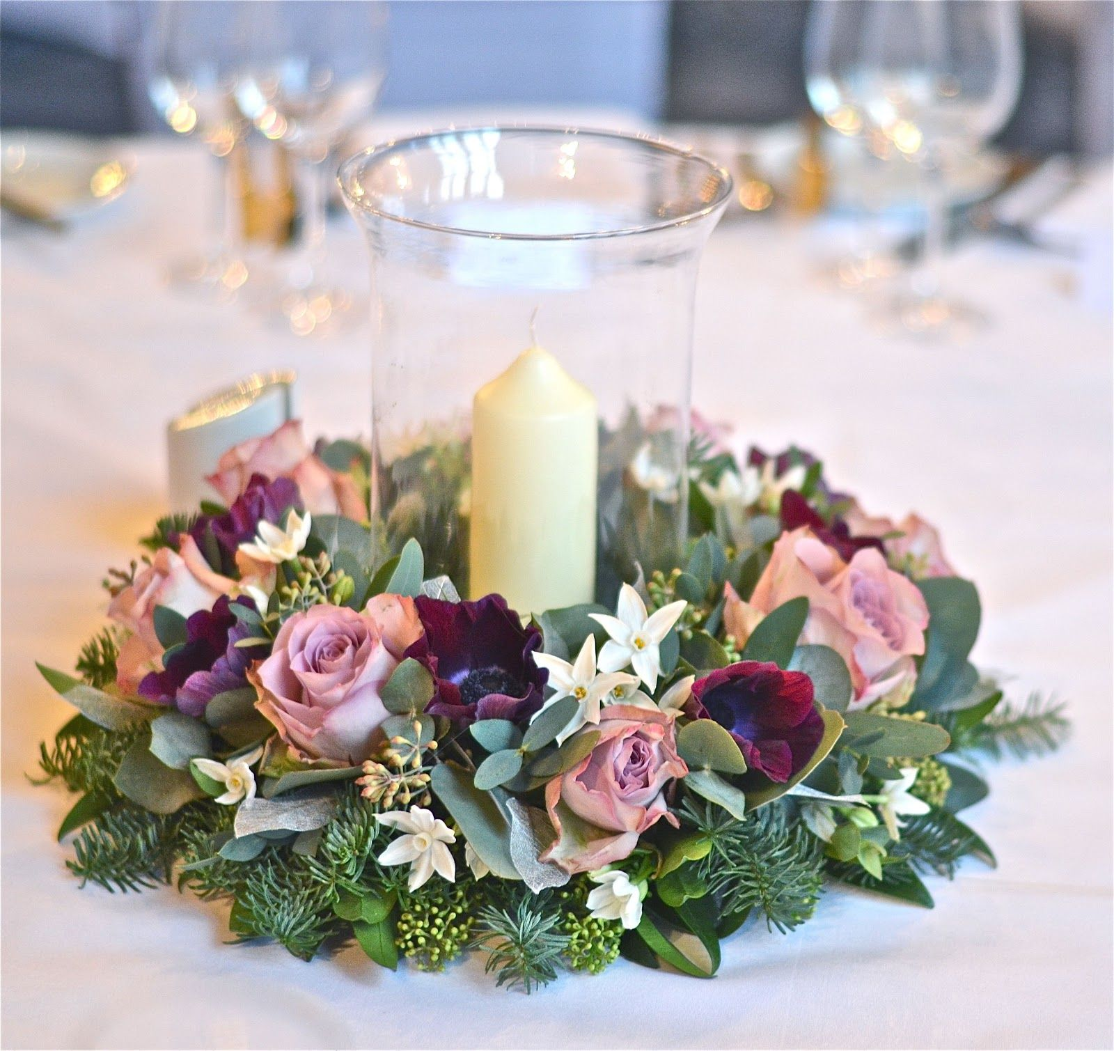 Plum And Silver Winter Wedding Flowers
