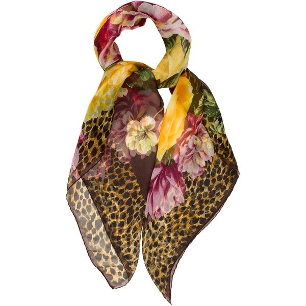 Pre-owned Dolce & Gabbana Floral Silk Scarf (€63) ❤ liked on Polyvore featuring accessories, scarves, animal print, brown scarves, silk shawl, patterned scarves, floral scarves and print scarves
