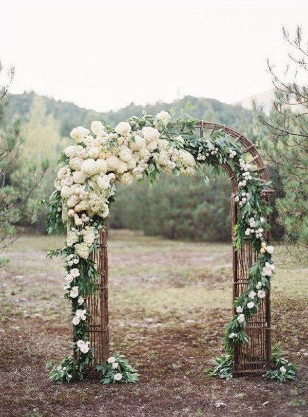 20 beautiful wedding arch decoration ideas pinterest rustic rustic wedding arch with white flowers and branches what a beautiful wedding arch decoration idea love it junglespirit Images