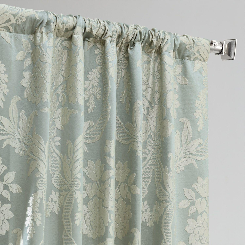 Magdelena Steel Blue Silver Designer Damask Curtain In 2020 Damask Curtains Damask Damask Pattern