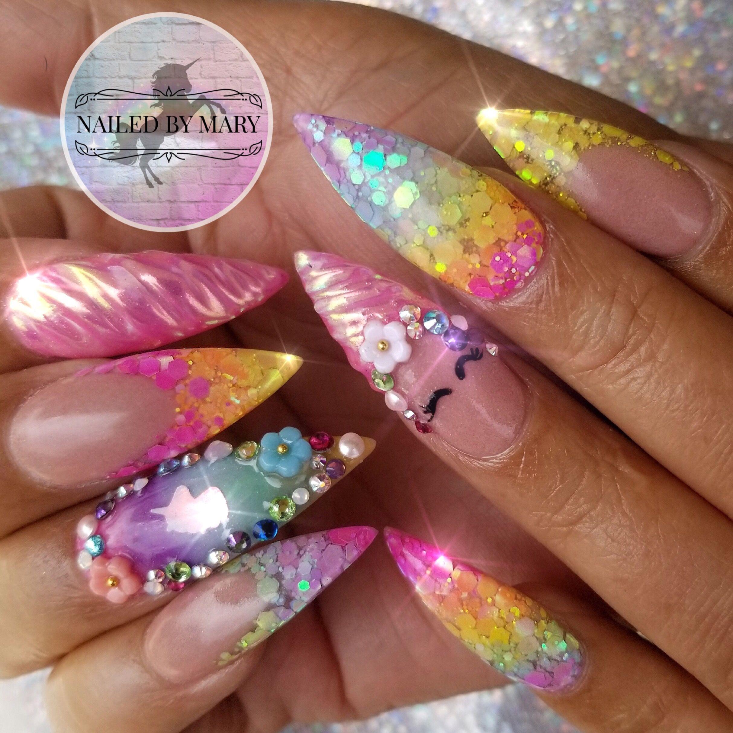 Nails nailart cute nails love acrylic rainbow unicorn iridescent ...