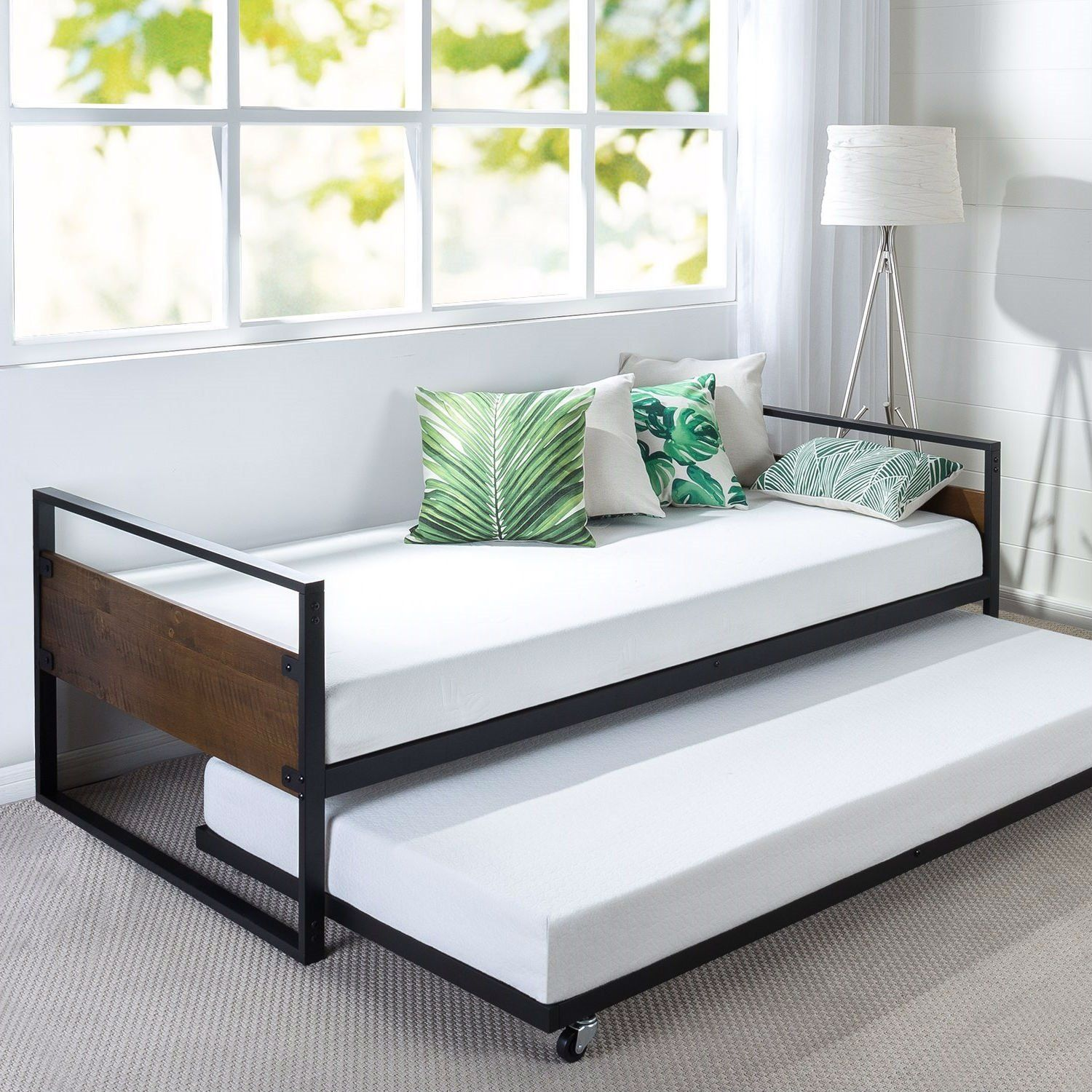 Twin Size Metal Wood Daybed Frame With Roll Out Trundle Bed In 2021 Twin Daybed With Trundle Daybed With Trundle Wood Daybed Daybed with trundle with mattress