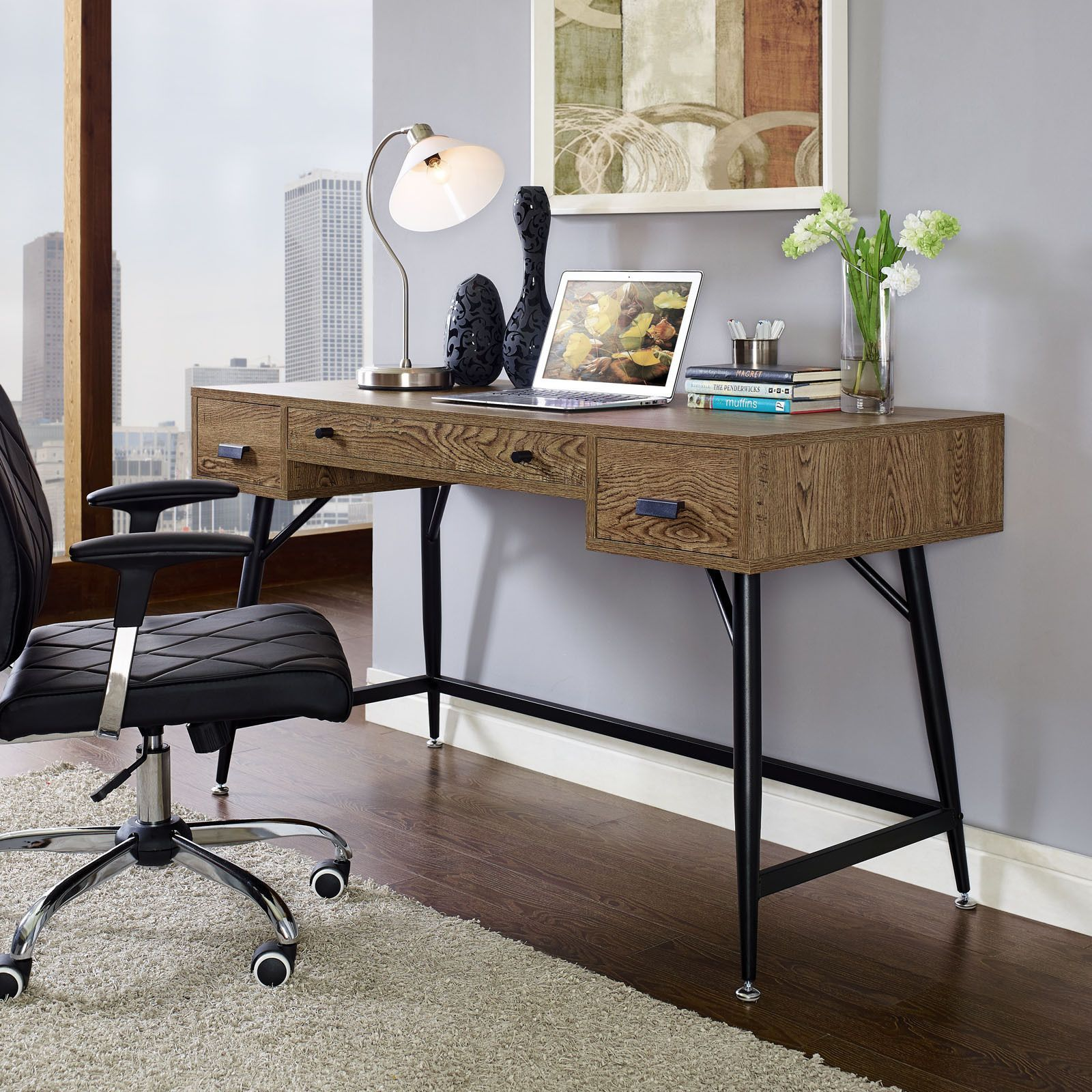Add a retro look to your home office with this walnutcolored
