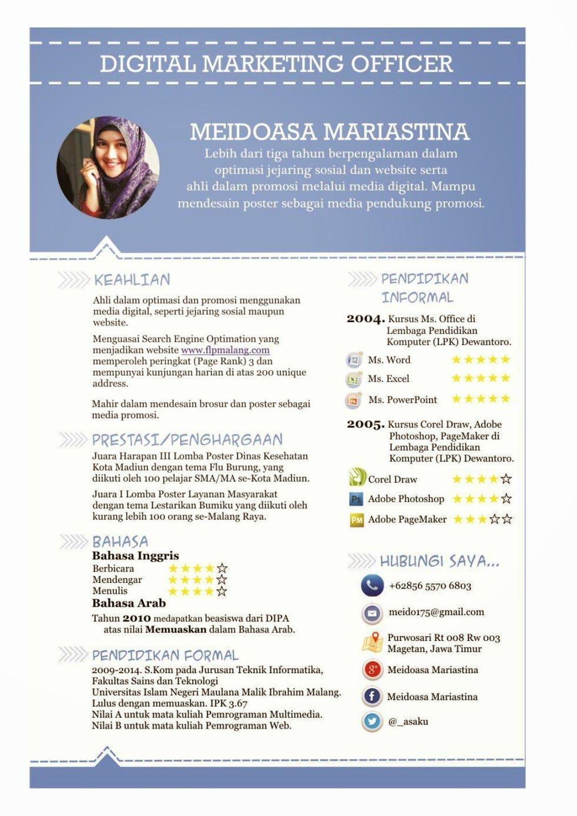Contoh Curriculum Vitae Menarik Resume Pinterest Resume