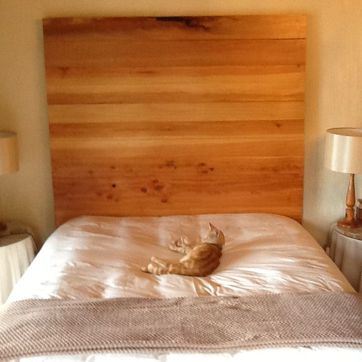 Finished bed head at last. Matched cedar boards.March 2016