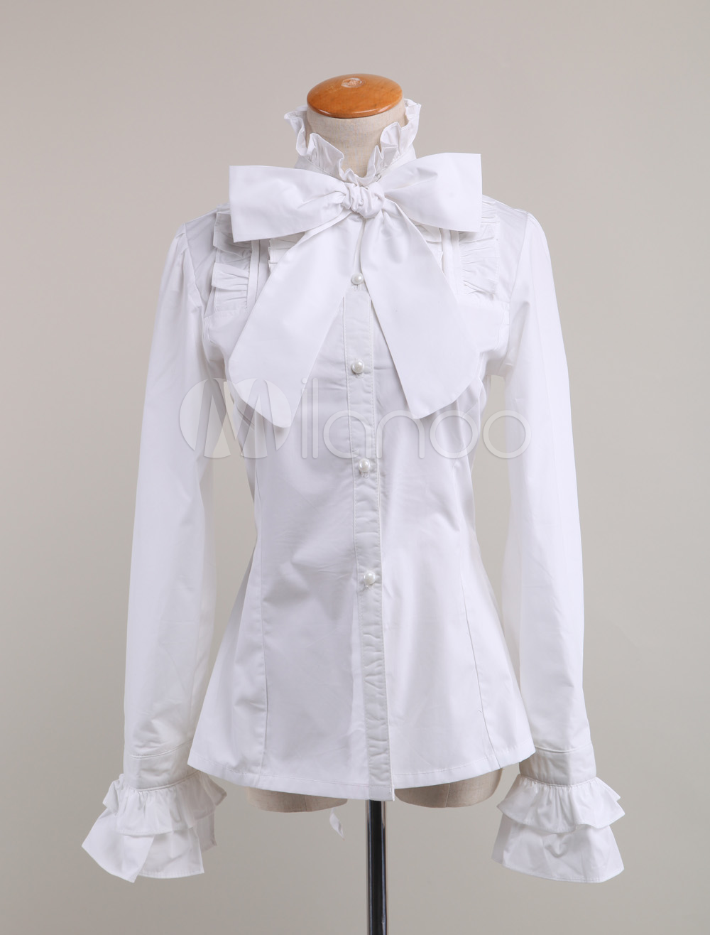 bec5a3f8c163c White Lolita Blouse Fragrant Series Infanta Chic Chiffon Shirt For Women.  This kind of white lolita blouse features its bow decorated on the front  collar.