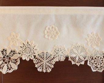 Curtain with crochet doilies, cafe curtain, valance, window decor ...